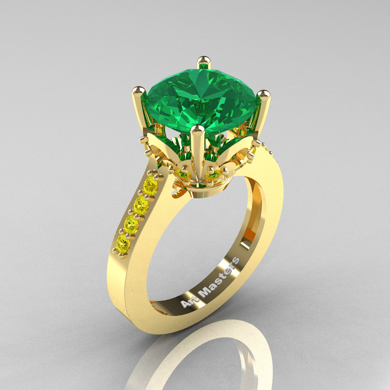 emerald solitaire ring yellow gold