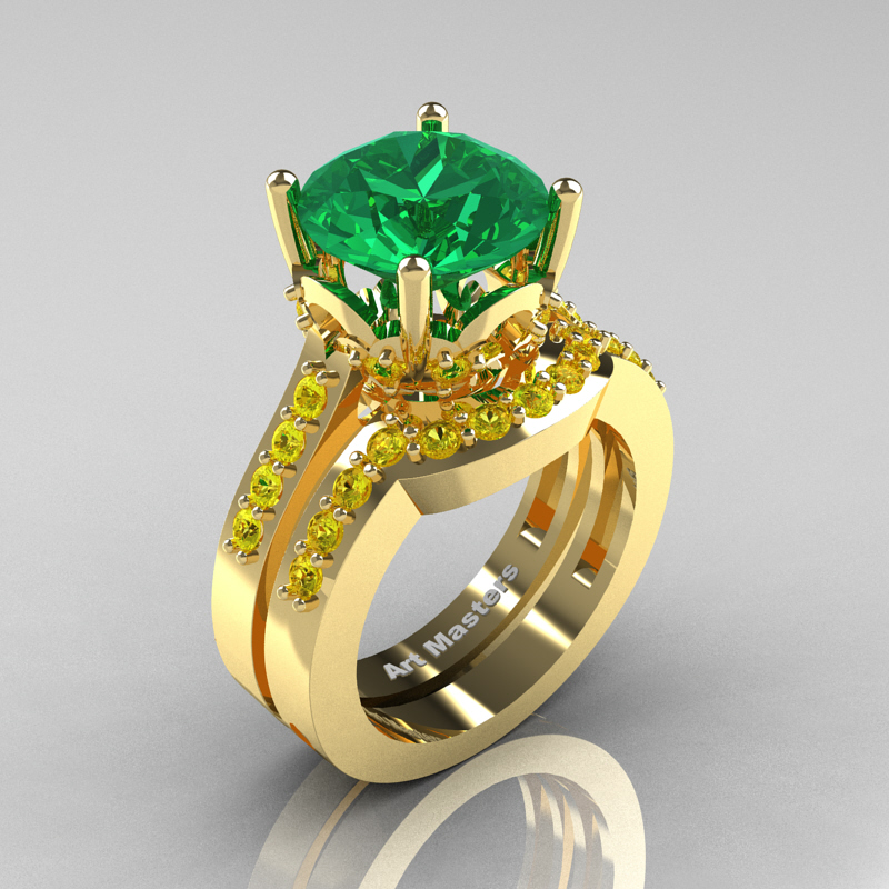 Clic 14k Yellow Gold 3 0 Ct Emerald Shire Solitaire Wedding Ring Set R301s 14kygysem