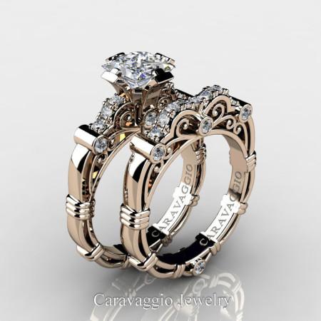 Art-Masters-Caravagio-14K-Rose-Gold-1-5-Carat-Princess-White-Sapphire-and-White-Diamond-Engagement-Ring-Wedding-Band-Set-R623PS-14KRGDWS-P