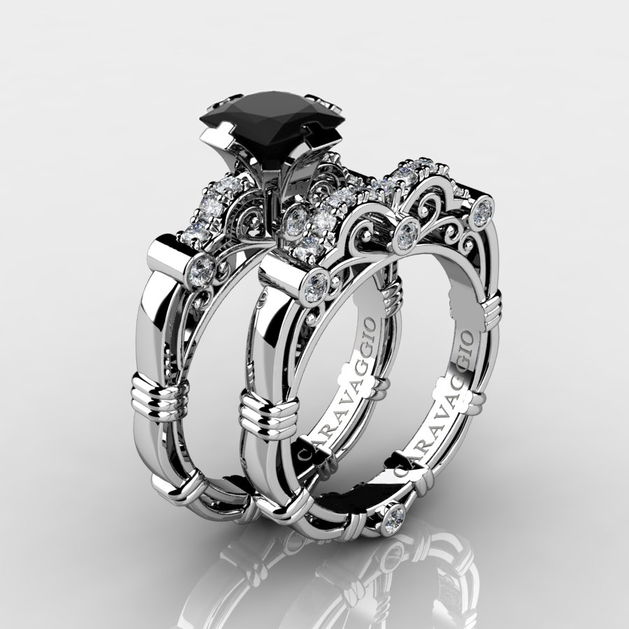 Art Masters Caravaggio 14K White Gold 125 Ct Princess Black and