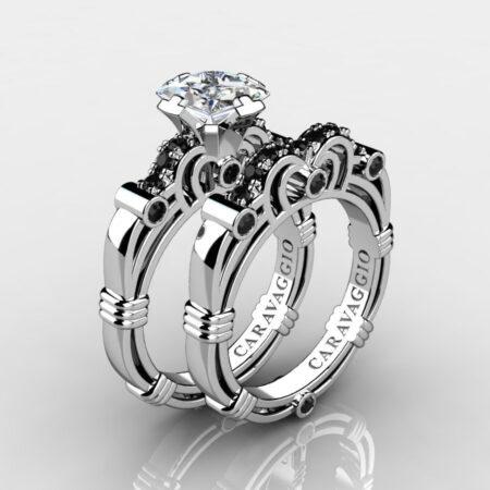 Art Masters Caravaggio 14K White Gold 1.25 Ct Princess White Sapphire Black Diamond Engagement Ring Wedding Band Set R623PS-14KWGBDWS