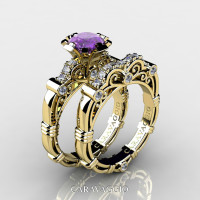 Art Masters Caravaggio 14K Yellow Gold 1.0 Ct Lavender Amethyst Diamond Engagement Ring Wedding Band Set R623S-14KYGDLAM