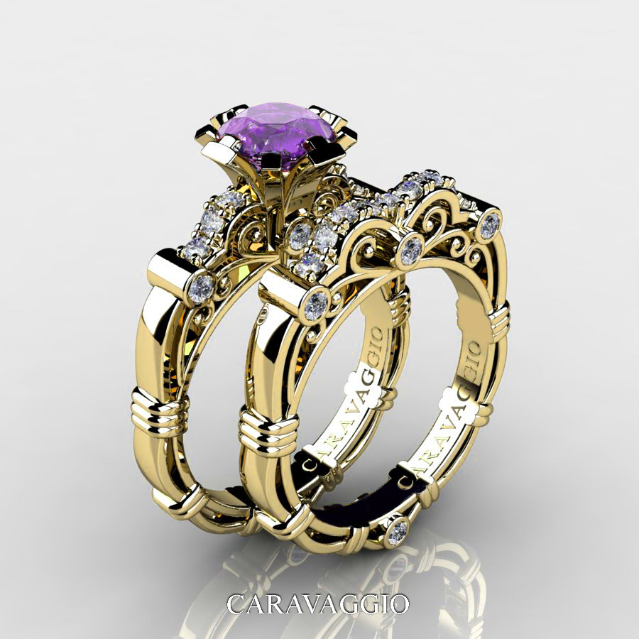 art masters caravaggio 14k yellow gold 10 ct lavender amethyst diamond engagement ring wedding band set - Amethyst Wedding Ring