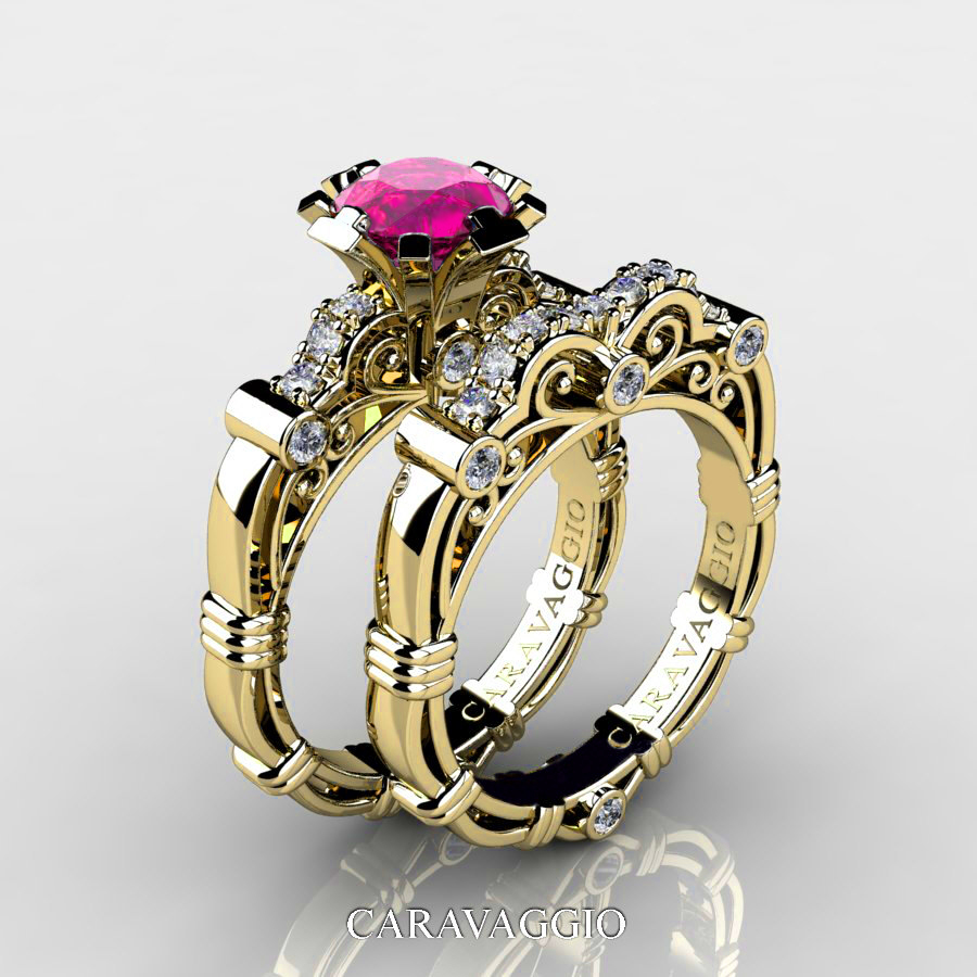 Art Masters Caravaggio 14K Yellow Gold 10 Ct Pink Sapphire Diamond Engagement Ring Wedding Band