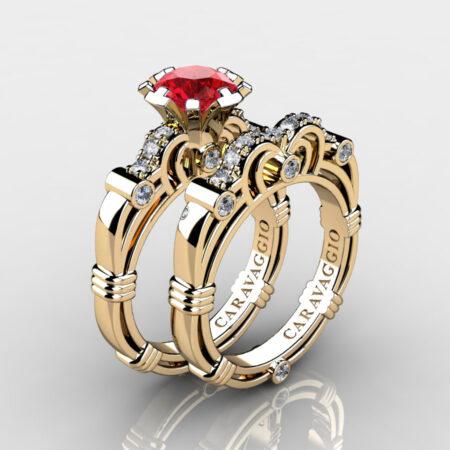 Art Masters Caravaggio 14K Yellow Gold 1.0 Ct Ruby Diamond Engagement Ring Wedding Band Set R623S-14KYGDR