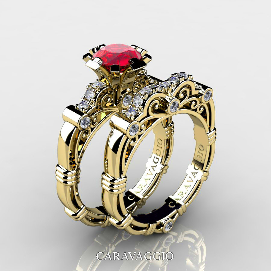 Art Masters Caravaggio 14K Yellow Gold 10 Ct Ruby Diamond Engagement Ring Wedding Band Set R623S