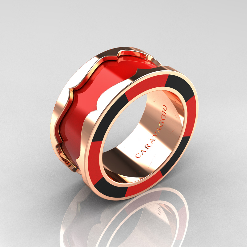 Red And Black Wedding Rings | Caravaggio 14k Rose Gold Red And Black Italian Enamel Wedding Band