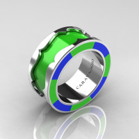 Caravaggio 14K White Gold Lime Green and Blue Italian Enamel Wedding Band Ring R618F-14KWGBLGE