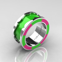 Caravaggio 14K White Gold Lime Green and Pink Italian Enamel Wedding Band Ring R618F-14KWGBLPE