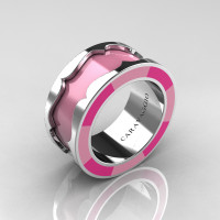 Caravaggio 14K White Gold Light Pink and Pink Italian Enamel Wedding Band Ring R618F-14KWGLPPEN
