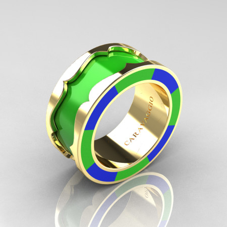 Caravaggio 14K Yellow Gold Lime Green and Blue Italian Enamel Wedding Band Ring R618F-14KYGBLGE