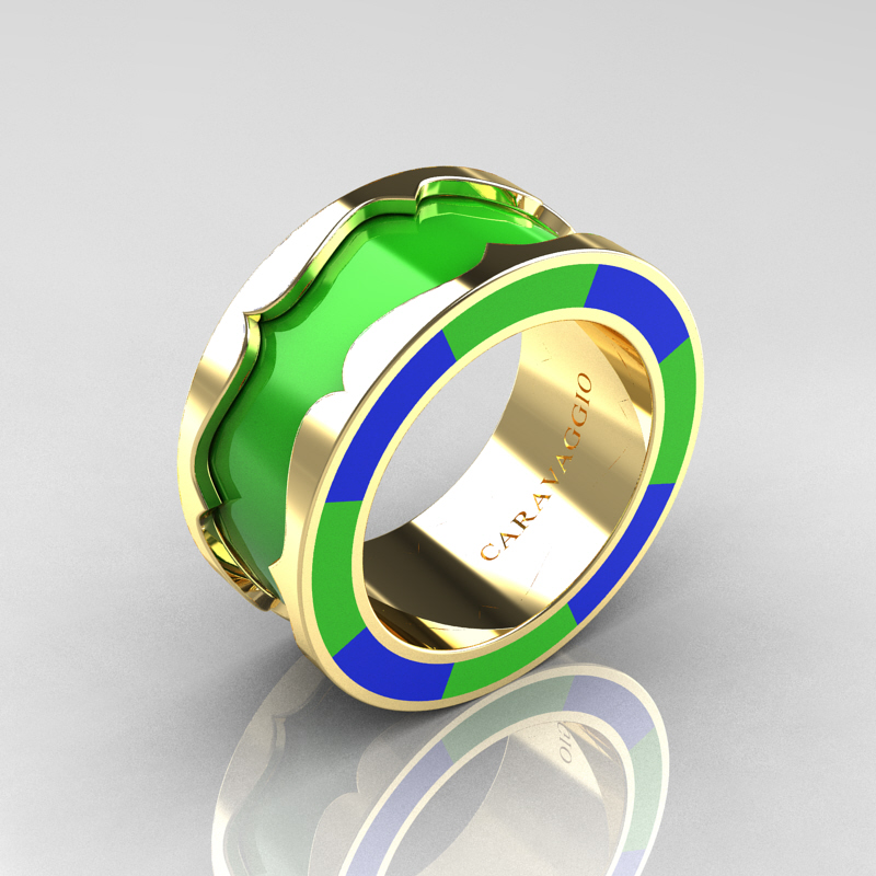 Caravaggio 14k Yellow Gold Lime Green And Blue Italian Enamel Wedding Band Ring R618f 14kygblge