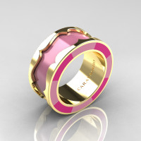 Caravaggio 14K Yellow Gold Light Pink and Pink Italian Enamel Wedding Band Ring R618F-14KYGLPPEN