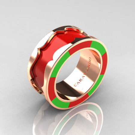 Caravaggio 14K Yellow Gold Red and Lime Green Italian Enamel Wedding Band Ring R618F-14KYGLGREN