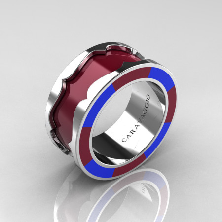 Caravaggio 14K White Gold Maroon and Blue Italian Enamel Wedding Band Ring R618F-14KWGBLME