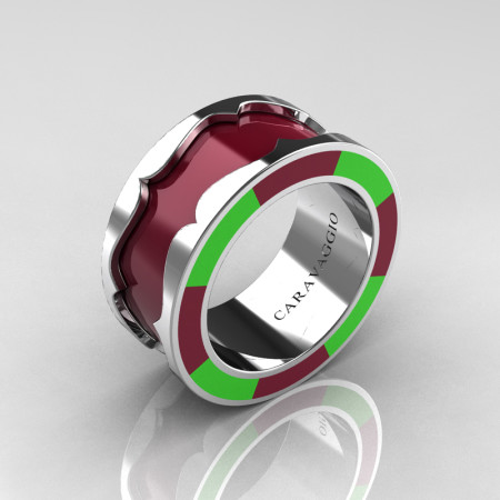 Caravaggio 14K White Gold Maroon and Lime Green Italian Enamel Wedding Band Ring R618F-14KWGLGME