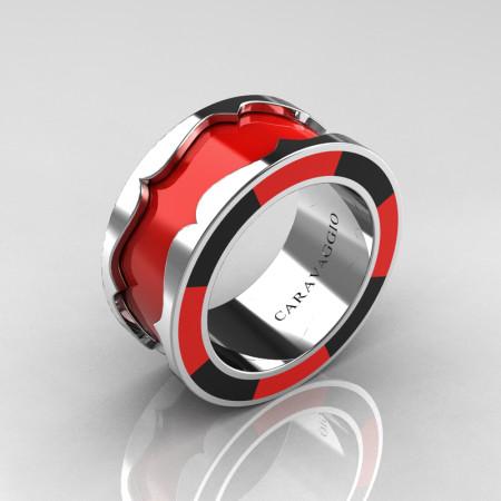 Caravaggio 14K White Gold Red and Black Italian Enamel Wedding Band Ring R618F-14KWGBLREN