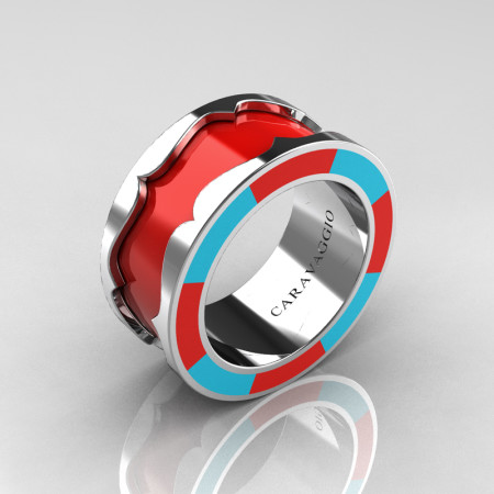 Caravaggio 14K White Gold Red and Turquoise Blue Italian Enamel Wedding Band Ring R618F-14KWGTBREN