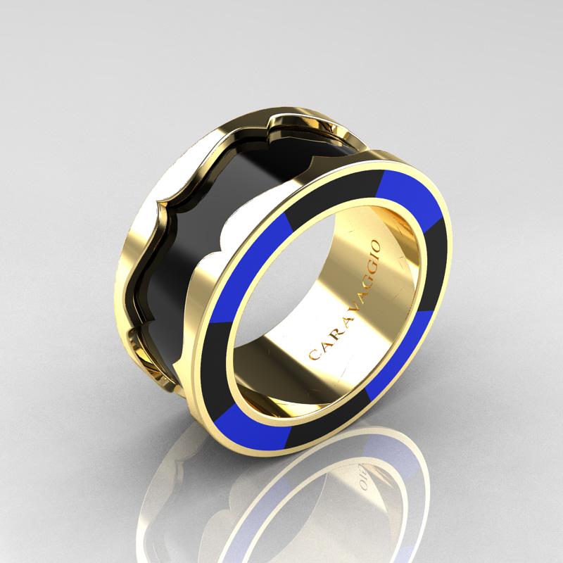 Caravaggio 14k Yellow Gold Black And Blue Italian Enamel Wedding Band Ring R618f 14kygblbe
