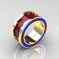 Caravaggio 14K Yellow Gold Maroon and Blue Italian Enamel Wedding Band Ring R618F-14KYGBLME