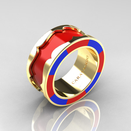 Caravaggio 14K Yellow Gold Red and Blue Italian Enamel Wedding Band Ring R618F-14KYGBREN
