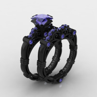 Art Masters Caravaggio 14K Black Gold 1.25 Ct Princess Tanzanite Engagement Ring Wedding Band Set R623PS-14KBGT