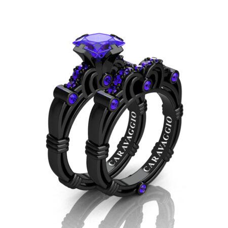 Art Masters Caravaggio 14K Black Gold 1.25 Ct Princess Tanzanite Engagement Ring Wedding Band Set R623PS-14KBGT