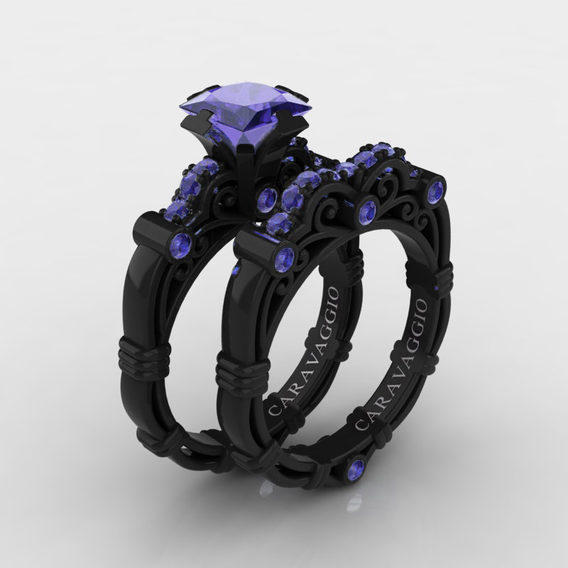Art Masters Caravaggio 14K Black Gold 125 Ct Princess Tanzanite Engagement Ring Wedding Band