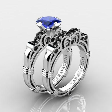 Art Masters Caravaggio 14K White Gold 1.25 Ct Princess Blue Sapphire Black Diamond Engagement Ring Wedding Band Set R623PS-14KWGBDBS