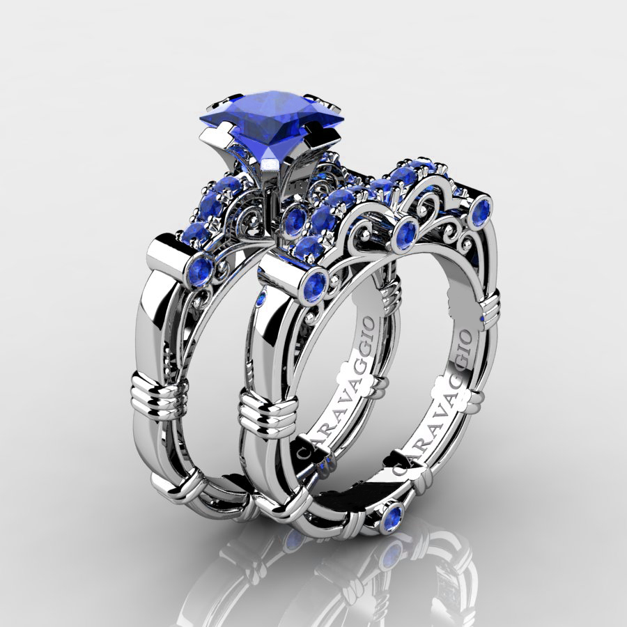 Art Masters Caravaggio 14K White Gold 125 Ct Princess Blue Sapphire Engagement Ring Wedding Band Set
