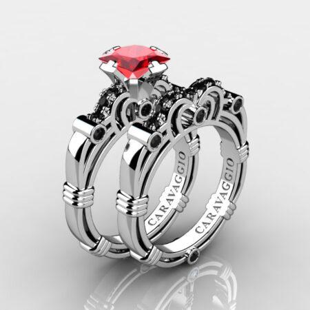 Art Masters Caravaggio 14K White Gold 1.25 Ct Princess Ruby Black Diamond Engagement Ring Wedding Band Set R623PS-14KWGBDR
