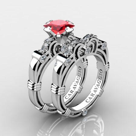 Art Masters Caravaggio 14K White Gold 1.25 Ct Princess Ruby Diamond Engagement Ring Wedding Band Set R623PS-14KWGDR