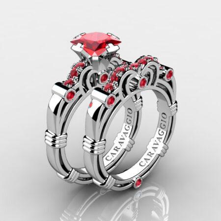 Art Masters Caravaggio 14K White Gold 1.25 Ct Princess Ruby Engagement Ring Wedding Band Set R623PS-14KWGR
