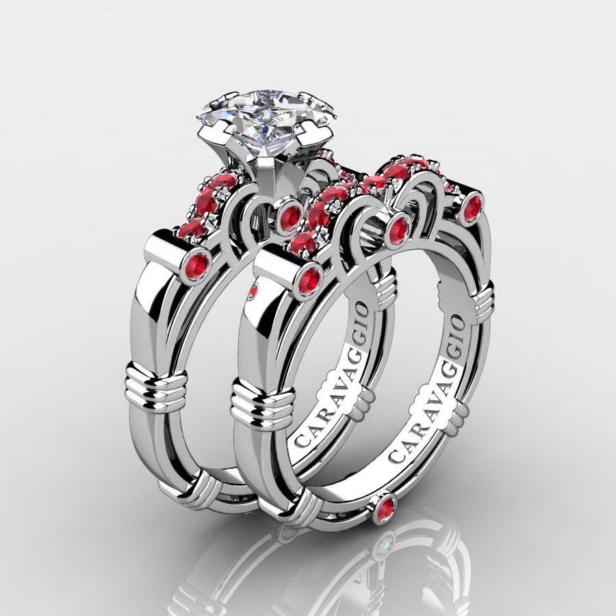 art masters caravaggio 14k white gold 125 ct princess white sapphire ruby engagement ring wedding band - Ruby Wedding Ring Sets