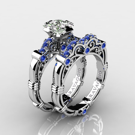 Art Masters Caravaggio 14K White Gold 1.25 Ct Princess White and Blue Sapphire Engagement Ring Wedding Band Set R623PS-14KWGBSWS
