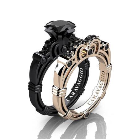 Caravagio-14K-Black-and-Rose-Gold-1-25-Carat-Princess-Black-Diamond-Engagement-Ring-Wedding-Band-Set-R623PS-14KBRGBD-P