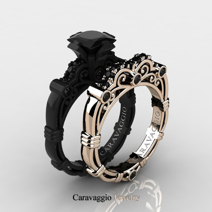 ring anniversary matching band bbbgem rose diamond gold micro eternity black milgrain wedding rings half pave