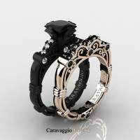 Caravaggio 14K Black and Rose Gold 1.25 Ct Princess Black and White Diamond Engagement Ring Wedding Band Set R623PS-14KBRGDBD