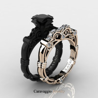 Caravaggio 14K Black and Rose Gold 1.25 Ct Princess Black and White Diamond Engagement Ring Wedding Band Set R623PS2-14KBRGDBD