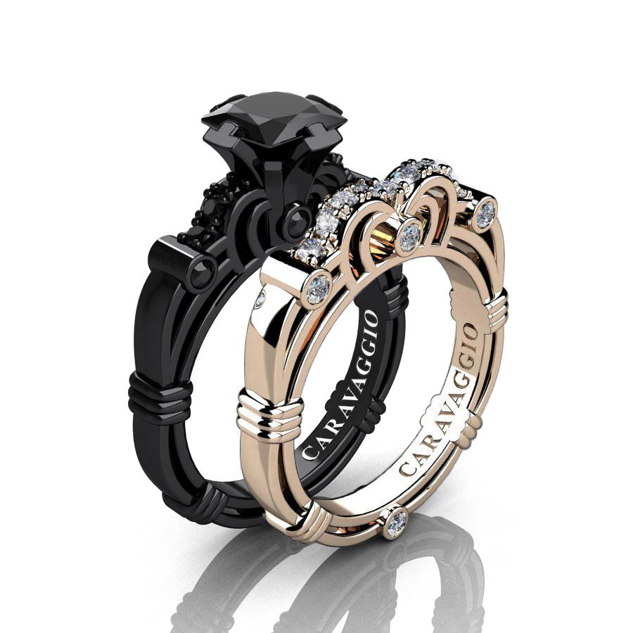 caravaggio 14k black and rose gold 125 ct princess black