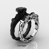 Art Masters Caravaggio 14K Black and White Gold 1.25 Ct Princess Black Diamond Engagement Ring Wedding Band Set R623PS-14KBWGBD