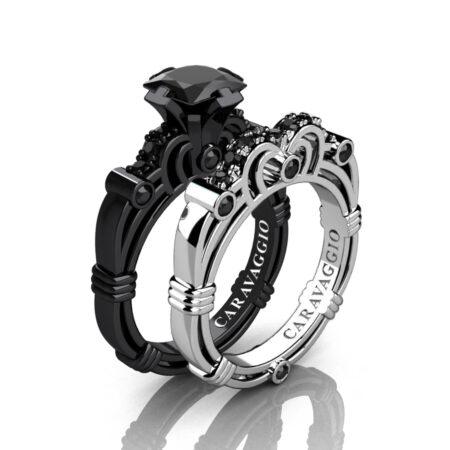 Caravagio-14K-Black-and-White-Gold-1-25-Carat-Princess-Black-Diamond-Engagement-Ring-Wedding-Band-Set-R623PS-14KBWGBD-P