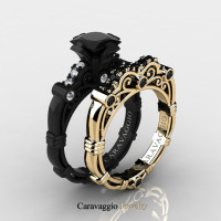 Caravaggio 14K Black and Yellow Gold 1.25 Ct Princess Black and White Diamond Engagement Ring Wedding Band Set R623PS-14KBYGDBD