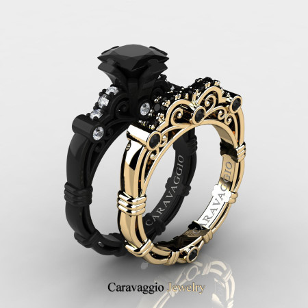 Caravagio-14K-Black-and-Yellow-Gold-1-25-Carat-Princess-Black-and-White-Diamond-Engagement-Ring-Wedding-Band-Set-R623PS-14KBYGDBD-P