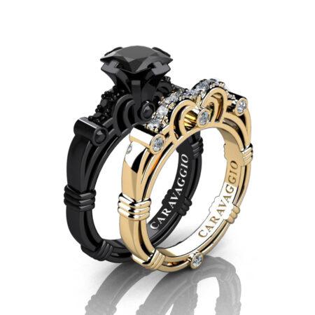 Caravagio-14K-Black-and-Yellow-Gold-1-25-Carat-Princess-Black-and-White-Diamond-Engagement-Ring-Wedding-Band-Set-R623PS2-14KBYGDBD-P