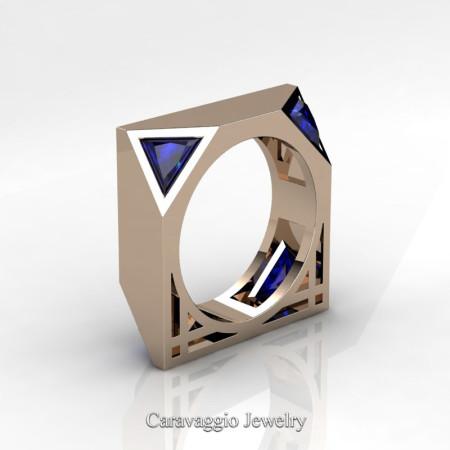 Caravaggio-Avant-Garde-14K-Rose-Gold-1-Ct-Triangle-Blue-Sapphire-Mens-Wedding-Ring-R349M2-14KRGBS-P