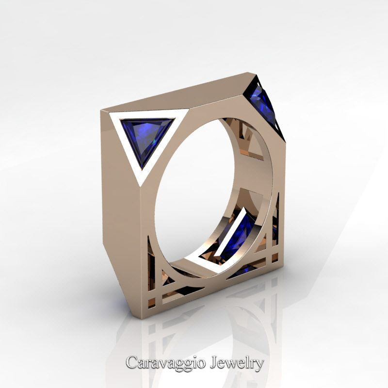 Mens Avant Garde 14K Rose Gold 10 Ct Triangle Royal Blue Sapphire