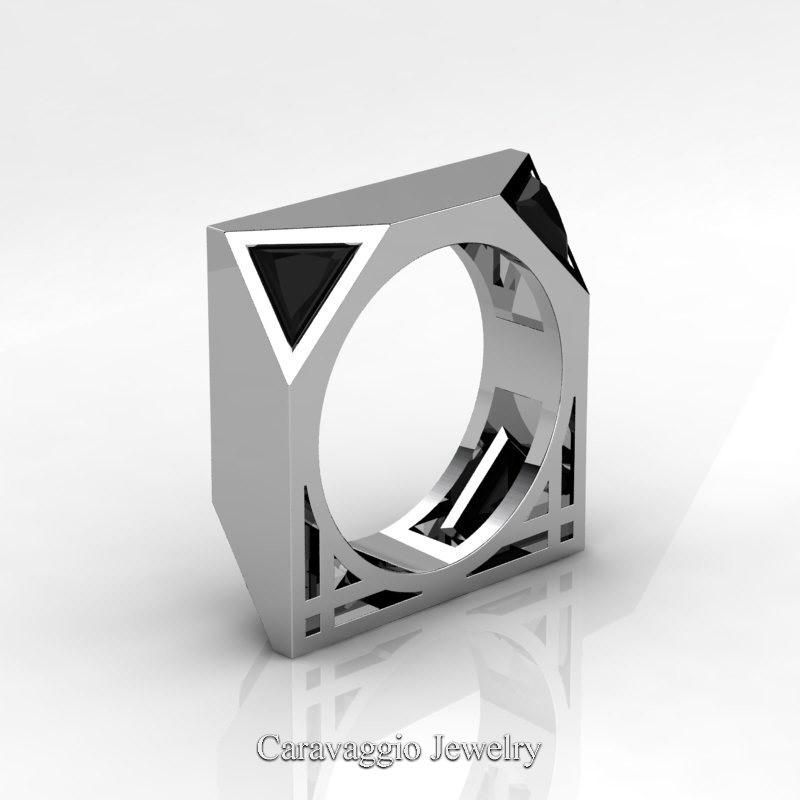 Mens Avant Garde 14k White Gold 1 0 Ct Triangle Black Diamond Wedding Ring R349m2 14kwgbd Caravaggio Jewelry