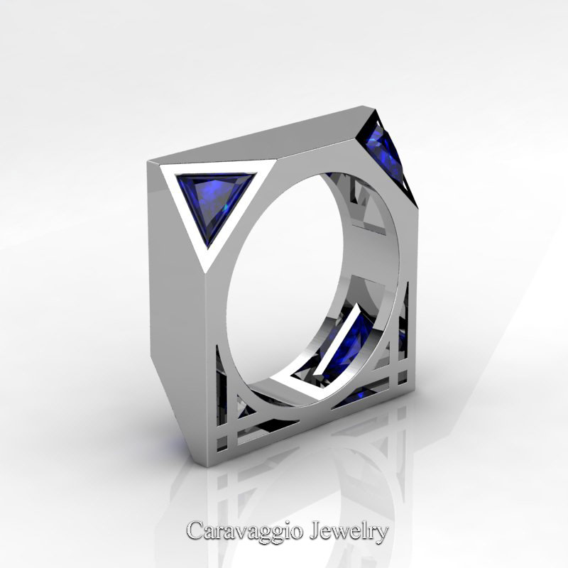 Mens Avant Garde 14K White Gold 10 Ct Triangle Royal Blue Sapphire