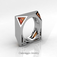 Mens Avant Garde 14K White Gold 1.0 Ct Triangle Orange Sapphire Wedding Ring R349M2-14KWGOS